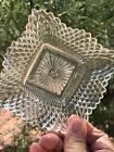 Vintage Indiana Diamond Point Cut Glass Ruffled Edge Candy Dish 4