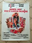 JAMES BOND LIVE AND LET DIE Original Movie Poster 39x55 2Sh Italian LINEN BACKED
