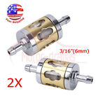 2x Inline Gas Fuel Filter 6mm-7mm 1/4