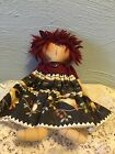 Primitive Folk Art Doll with country dress decorated with cats