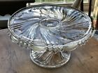 EAPG Glass Swirl Pattern Glass Cake Pastry Stand EXC Cond