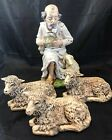 Vintage Nativity Set Sheep And Sheep Herder Made In Germany Lot Of 4 Pieces