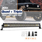 20 30 50 Straight Led Light Bar Spot Flood 6000k Driving Tri-row 54 Curved