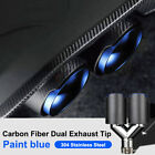 2pcs Carbon Fiber Car Dual Exhaust Tip Paint blue Stainless Steel Muffler Pipe