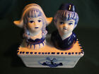 Dutch Boy  Girl Salt  Pepper Shakers in a Delft Decorated Stand Vintage