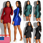 Womens Bodycon Long Sleeve Slim Fit Evening Party Cocktail Club Short Mini Dress
