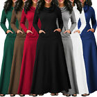 Casual Women's Pocket Cowl Neck Long Sleeve Swing Party Cocktail Maxi Full Dress