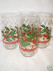 (4) LIBBEY CHRISTMAS HOLIDAY ..HOLLY OPTIC SWIRL 14 OZ GLASSES