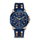 NEW GUESS WATCH for Men * Multi-Function Blue/Rose Gold * Silicone Band U0366G4