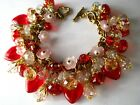 VALENTINE Charms Bracelet Glass Red Hearts Pink Crystals Vintage M Haskell Chain