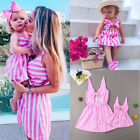 Daughter Dress Matching Mom Girl Stripe Bow Maxi Dress Family Clothes
