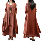 Women Girl Retro Ethnic Boho Long Sleeve Maxi Cotton Loose Linen Gypsy Dress
