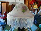 Antique Vintage Floor Lamp Painted Lilacs on Glass Shade Beading Metal Base