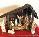 Christmas Deluxe Vintage hand painted 11pc Porcelain Nativity Set Wood Stable