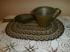 EXTREME PRIMITIVE ANTIQUE BRASS SCOOP AND LARGE MUG CUP~RUSTIC~FARMHOUSE~PATINA