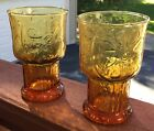 2 VINTAGE 12 OZ LIBBEY AMBER COUNTRY GARDEN TEXTURED DAISY WATER GLASSES