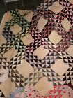 Vintage Hand Sewn Blanket Quilt 68 x 74 inches Cris-Cross Quilt Hand Made