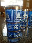 VINTAGE Mid Century Set of 4 Glasses Blue boating  with Gold Leaf tumblers