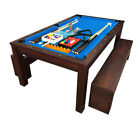 7Ft Pool Table Billiard Blue became a dinner table with benches m Rich Blue