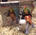 Clay Art Pet Shop Salt  Pepper Shakers new in box Shaggy Dog Parrot Cat Mouse