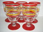 5 RARE Vtg BANDED RINGS Depression Glass GOBLETS Red/Black/Gold Striped Glasses