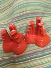 Fiestaware Red Candle Holder Vintage Fiesta Tripod Pyramid Set of 2 chipped