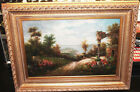Vintage Oil Painting w/Gold Gilt Ornate Wood Picture Frame Large 48 x 36 Torrens