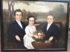 ORIGINAL AMERICAN FEDERAL PERIOD PRIMATIVE THREE FIGURE FAMILY PORTRAIT PAINTING