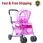 Deluxe Doll Stroller Swivel Front Wheel Adjust 5 Point Harness Removable Canopy