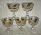 MID-CENTURY FROSTED w/GOLD LEAVES LIBBEY STEMMED WINE DESSERT GLASSES