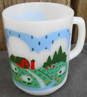 Anchor Hocking Oven-Proof Farm Scene Sheep Milk Glass Coffee Mug Cup
