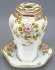 Nippon Morimura Hand Painted Pink Rose & Moriage Gold Hat Pin Holder C 1911 - 21