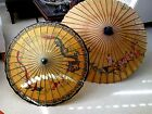 2 Vtg Antique Asian Bamboo Paper Chinese Parasol Umbrellas 34