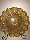 Deviled Egg Plate Amber Glass Beautiful Detail
