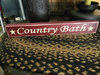 Primitive Vintage Look Shabby Wood COUNTRY BATH Red SMALL Sign Country