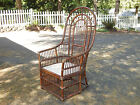 Vtg mid century rattan bamboo tiki arm side accent high back wicker chair local