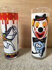 Vintage Carousel Merry Go Round Happy Clown Sad Clown Drinking Glasses Tumblers