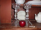 2 Crystal Candle Holders 11 Heavy Glass Wedding Mantel Pillar Candle