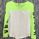 PINK VICTORIAS SECRET NEON GREEN WHITE V NECK LONG SLEEVE SIZE SMALL