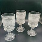 Anchor Hocking WEXFORD Wine Water Goblets Stemware Cut Glass Set of 3 P260