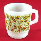 Vintage Anchor Hocking Milk Glass Stackable RARE Daisy Coffee Tea Mug Cup