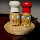 Vintage Wooden Wood Cat Face Made in Japan Salt  Pepper Shakers