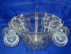 VINTAGE INDIANA GLASS CO. PUNCH BOWL W/ CUPS - PRINCESS 18 PC. CRYSTAL PUNCH SET