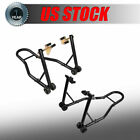 SPORT BIKE MOTORCYCLE WHEEL LIFT STAND FRONT FORK W / REAR SWINGARM SPOOL COMBO