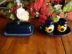 5 PC USED COBALT BLUE BUTTER DISH  SALT  PEPPER SHAKERS W PLUGS  UNDER DISH