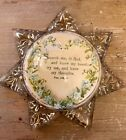Antique Vintage star-shaped glass heptagram paperweight Bible Verse PSALM 139:23