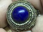 Old Antique Chinese Sterling silver Lapis Seed Pearls filigree Hallmarked Ring