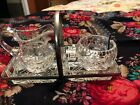 Newport By Royal Kendal Hand Cut Lead Crystal Sugar And Creamer Tray And Spoon