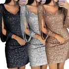 Women Deep V Sequined Long Sleeve Bodycon Party Cocktail Evening Mini Dress