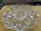 Antique Glass Deviled Egg Plate Clear Pressed Scallop Shape Holds 12 Eggs L(@@)K